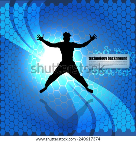 Man Jumping On Abstract Blue Background - stock vector