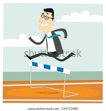 Man jumping over an obstacle on a running track on the way to succes - stock vector