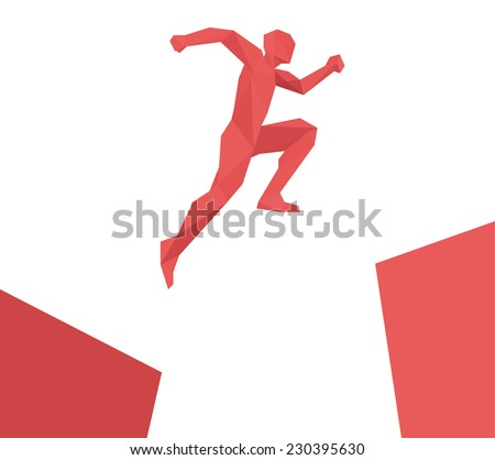 Man jumping over gap, geometric design vector isolated  - stock vector