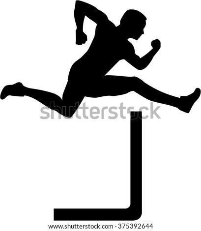 Man jumping over hurdles - stock vector