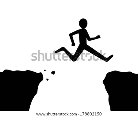 man jumping over the cliff or gap, black and white  - stock vector