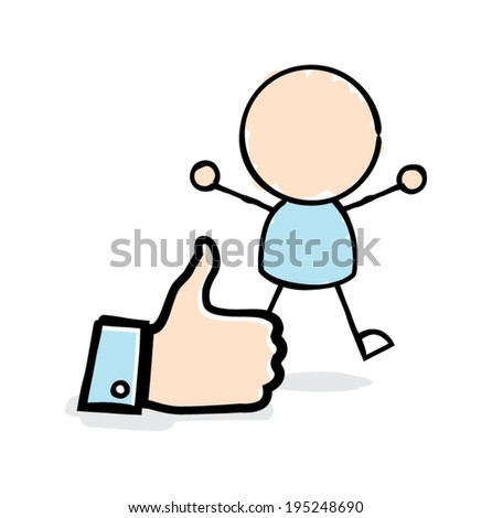 Man Jumping with Joy Beside a Thumbs Up Icon - stock vector