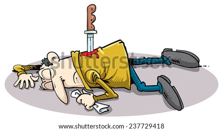 Man killed with a knife. - stock vector