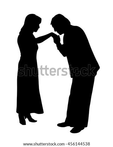 Man kissing woman's hand - stock vector