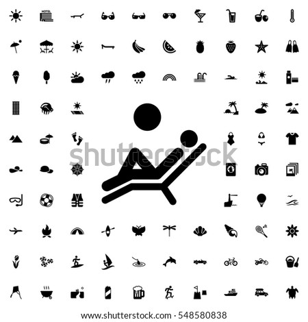man laying in the sun icon illustration isolated vector sign symbol