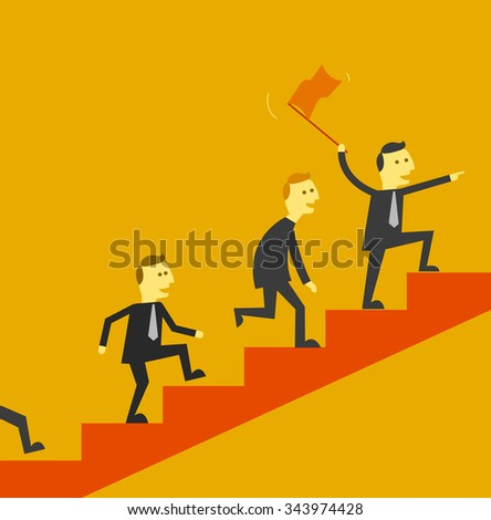 man leading a team up stair to success