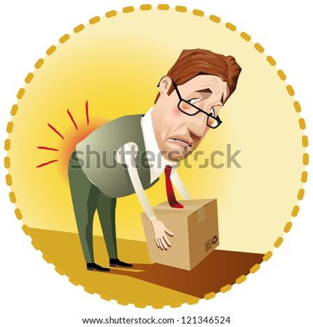 Man lifting a box incorrectly. - stock vector