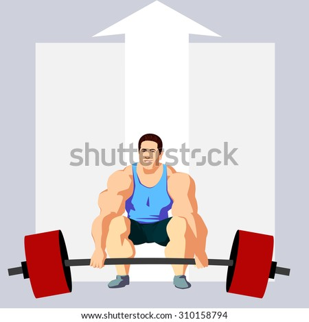 man lifting up a barbell - stock vector