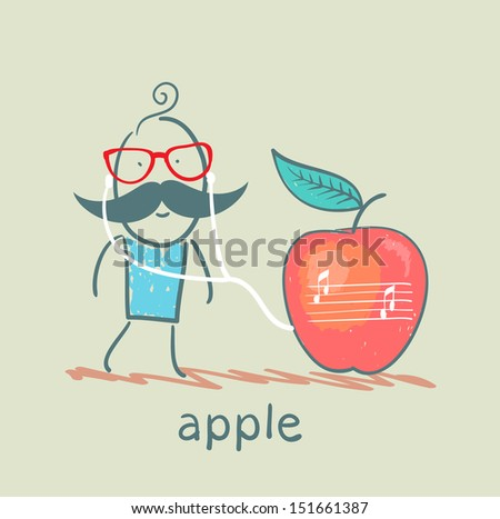 man listening to music on headphones apple