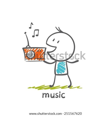 man listening to music on the radio illustration - stock vector