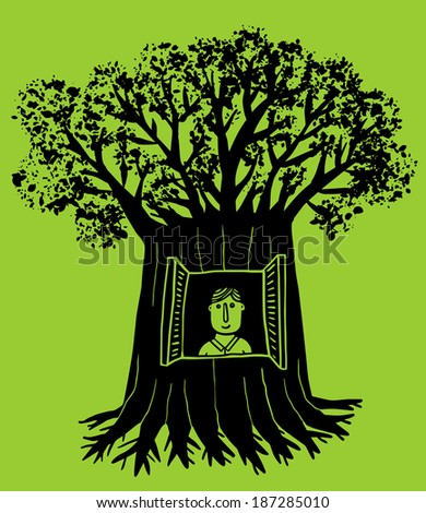 man lives inside a tree with window - stock vector