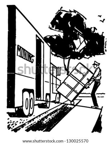 Man Loading Moving Van - Retro Clip Art Illustration - stock vector
