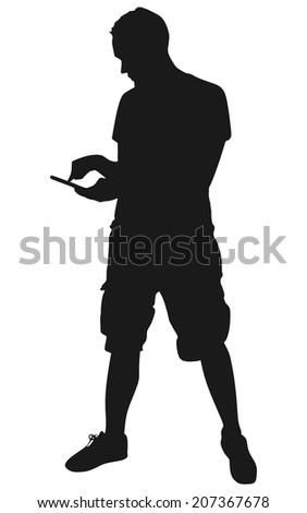 Man looking at his cellphone, vector