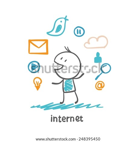 man looking at the icons from the Internet illustration - stock vector