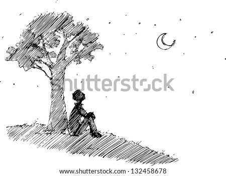 Man looking at the moon under a tree - stock vector