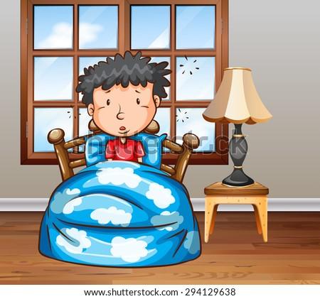 Man looking sick in bed - stock vector
