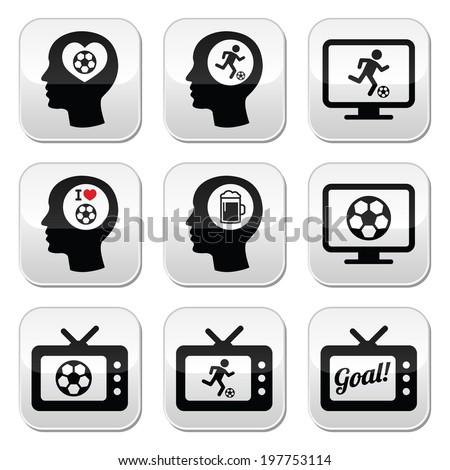 Man loving football or soccer buttons set  - stock vector