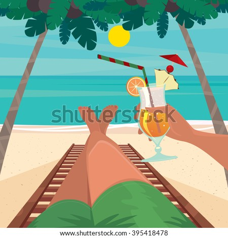 Man lying on a sun lounger by the sea and holding in his hand an exotic cocktail - Beach holidays concept. Vector illustration - stock vector