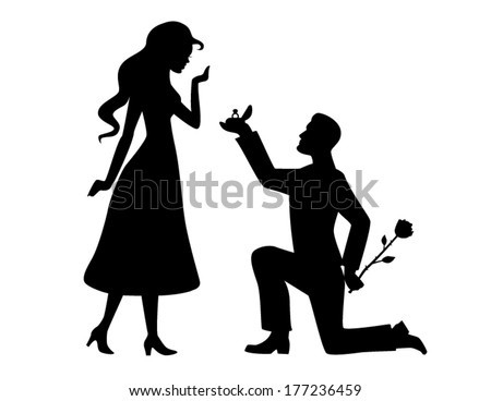Man makes girl marriage proposal vector stock vector - Boy propose girl with rose image ...