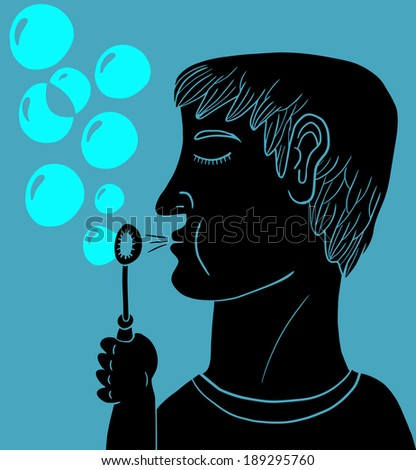 Man making soap bubbles - stock vector