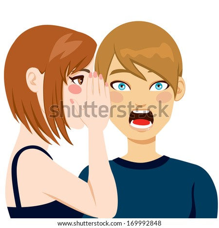 Man making surprised face expression after hearing shocking news by woman telling secrets in his ear - stock vector