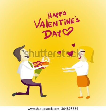 Man Manager gets down on one knee and gives the ring woman on Valentine's Day. Flat isolated vector illustration - stock vector