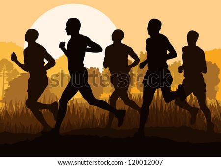 Man marathon runners in wild forest nature mountain landscape background illustration vector