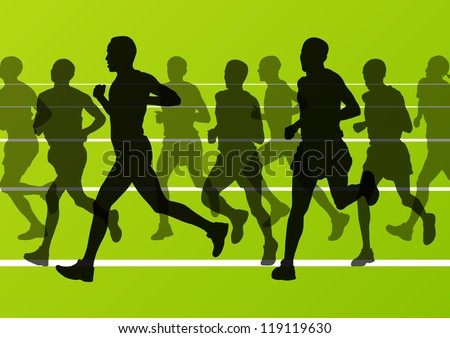 Man marathon runners silhouettes in sport stadium landscape background illustration vector
