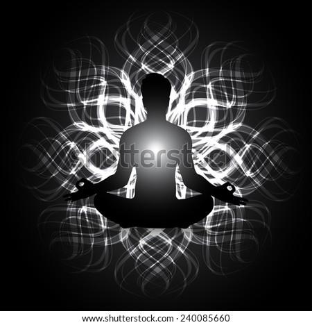 man meditate abstract black radius background, yoga. - stock vector