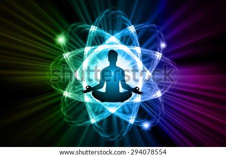 man meditate dark blue green purple nuclear atom abstract background, yoga. ray. beam.  - stock vector