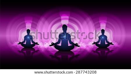 man meditate dark purple abstract circle background, yoga. beam. ray - stock vector