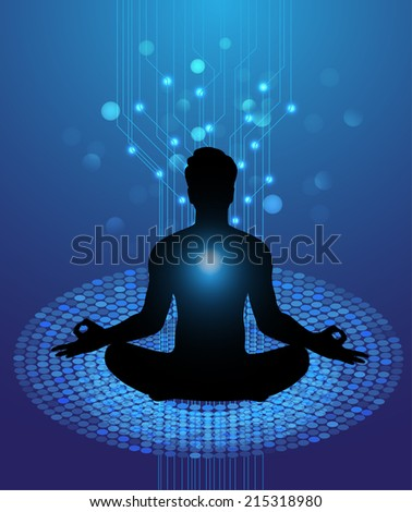 man meditate, yoga.  - stock vector