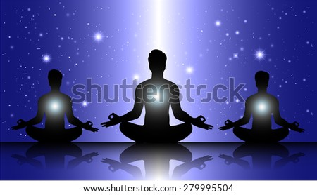 man meditate, yoga. on dark blue star sky background. - stock vector