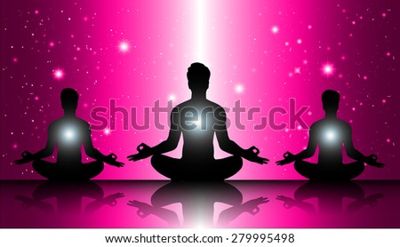 man meditate, yoga. on pink star sky background. - stock vector