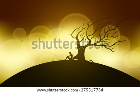 man meditating next to a tree silhouettes vector editable - stock vector