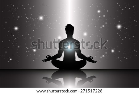 man meditation Dark black sparkling background with stars in the sky and blurry lights, illustration. Abstract, Universe, Galaxies, yoga. Male silhouette. - stock vector