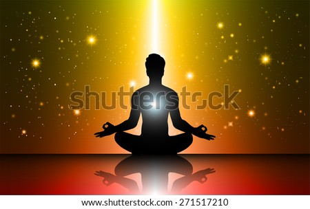 man meditation Dark orange red sparkling background with stars in the sky and blurry lights, illustration. Abstract, Universe, Galaxies, yoga. Male silhouette. - stock vector