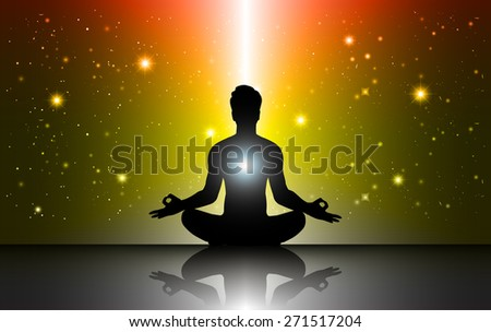 man meditation Dark orange yellow sparkling background with stars in the sky and blurry lights, illustration. Abstract, Universe, Galaxies, yoga. Male silhouette. - stock vector