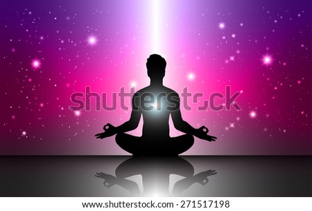 man meditation Dark purple pink sparkling background with stars in the sky and blurry lights, illustration. Abstract, Universe, Galaxies, yoga. Male silhouette. - stock vector