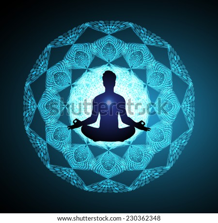 Man meditation on abstract background