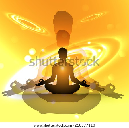 man meditation orange sparkling background with stars in the sky and blurry lights, illustration. Abstract, Universe, Galaxies, yoga.  - stock vector