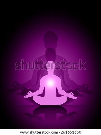 Man meditation purple abstract shadow background. yoga. - stock vector