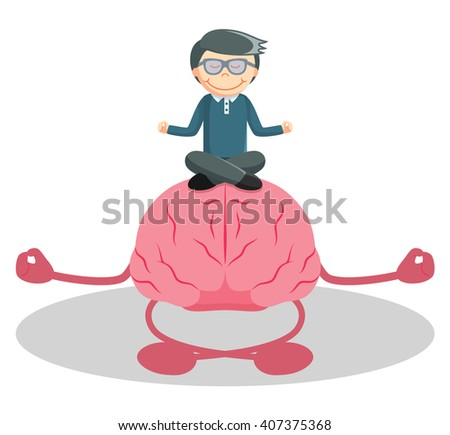 Man meditation with brain
