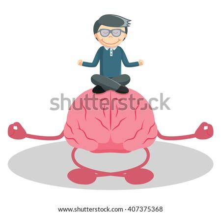 Man meditation with brain - stock vector