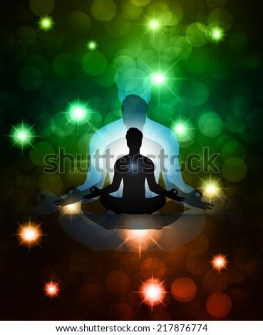 man meditation. yoga. dark blue Defocused Light, Flickering Lights, Vector abstract festive background with bokeh defocused lights. Universe, galaxies, stars. - stock vector