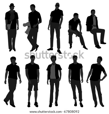 Man Men Male Fashion Shopping Model - stock vector