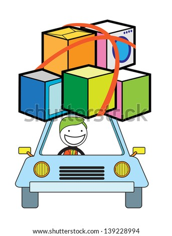 man moving car - stock vector