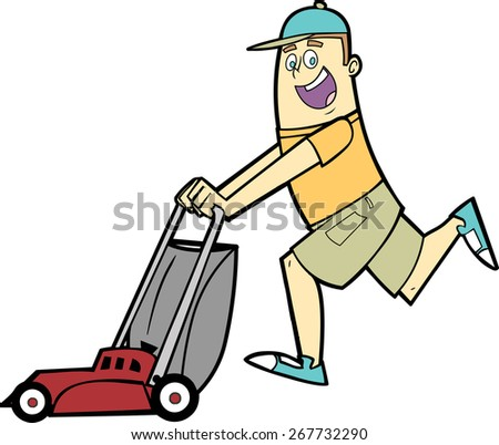 Man mowing the lawn with a lawnmower