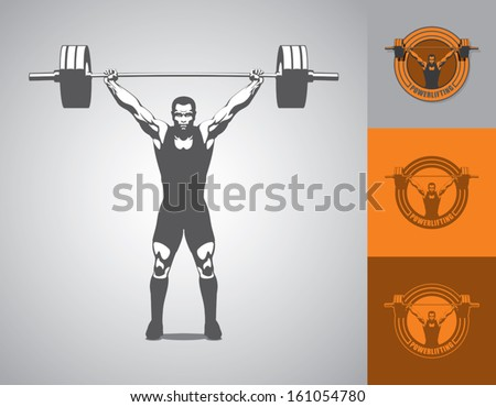 man, muscles, barbell, bodybuilder - stock vector