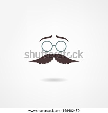 Man mustache icon - stock vector
